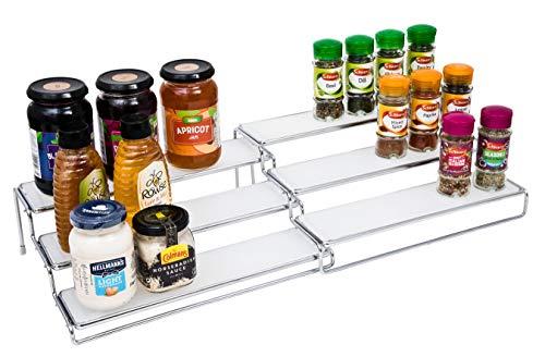 Amtido Spice Rack 3 Tier Expandable Cabinet and Shelf Organiser – Chrome
