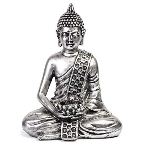 Juvale Buddha Tealight Statue for Home and Garden (Silver, 8.7 Inches)