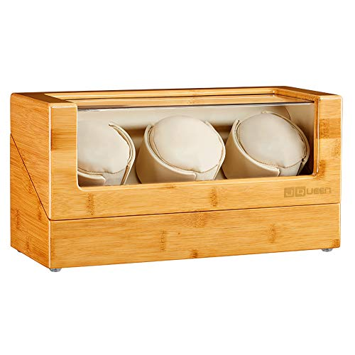 JQUEEN Watch Winder Box for Automatic Watches, 100% Bamboo Wood