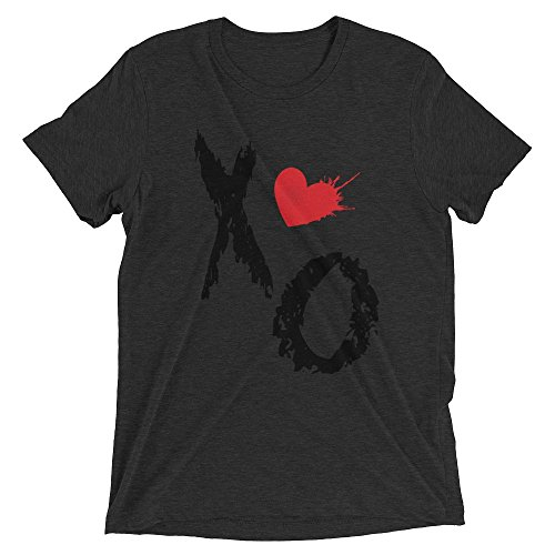 Ground 29 XO Heart Tri-blend Women's Short Sleeve T-shirt_Charcoal - Black Triblend_Large