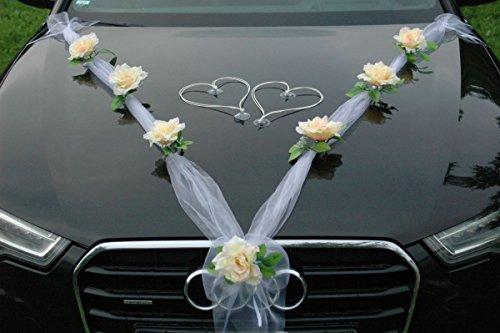 ORGANZA M + HERZEN Auto Schmuck Braut Paar Rose Deko Dekoration Autoschmuck Hochzeit Car Auto Wedding Deko Ratan (Lemon / Weiß /Weiß)