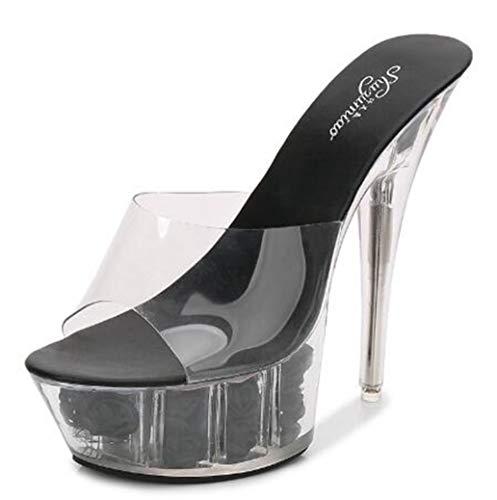 Sconosciuto Tacchi alti 15 centimetri pompe della piattaforma peep-toe sandali a spillo trasparente per Donne Nero 2 37.5 UE