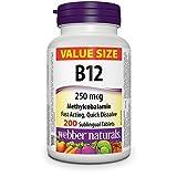 Webber Naturals Vitamin B12 250 mcg Methylcobalamin, 200 Sublingual Tablets