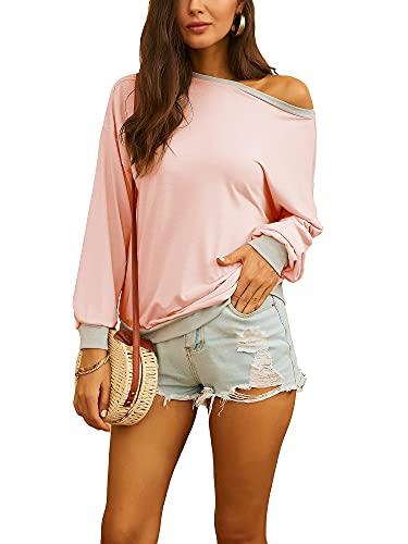 Damska pulower bluzka na jedno ramię top z odsłoniętymi ramionami bluzka damska koszulki z długim rękawem na co dzień koszulki, różowy, XXL