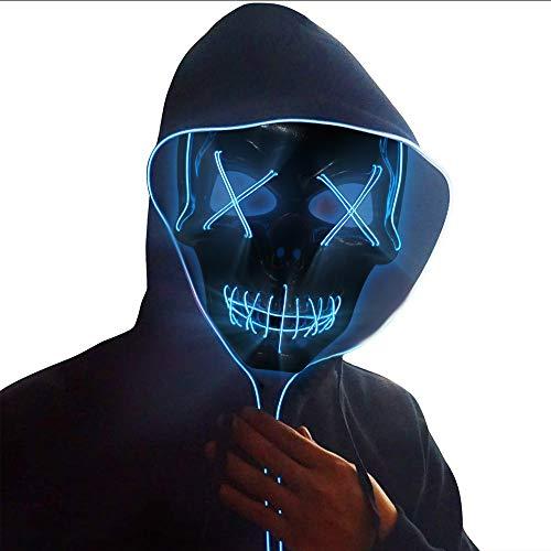 Ankuka Halloween Maske, LED Purge Masken mit 3 Blitzmodi Leuchten Maske für Erwachsene, Karneval Skull Fasching Mask für Feste Party Kostüm Cosplay, Blau