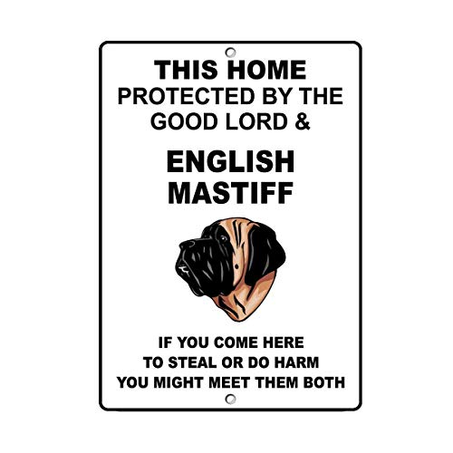Aluminum Metal Sign 12x16 inches Decorative Sign English Mastiff Dog Home Protected by Good Lord Yard Fence Sign Gift Aluminum Sign for Wall Decor