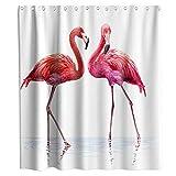 N\A Feliz día de San Valentín Cortina de Ducha Flamingo Pareja Tela Tela Niños Baño Decoración Set con Ganchos Impermeable Lavable Rosa