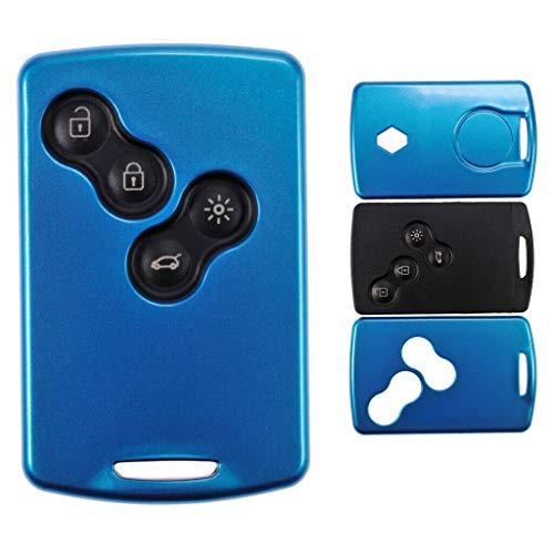 Schlüssel Karte Fernbedienung Hülle Hartschale Cover Blau für Renault Koleos Captur Grand Scenic Megane Laguna Zoe