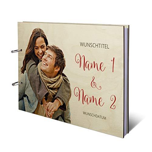 Hochzeit Gästebuch Birkensperrholz Ringbuch UV-Druck individuell Holzcover 72 Blatt   144 Seiten DIN A4 quer 302x215mm - freigestellt