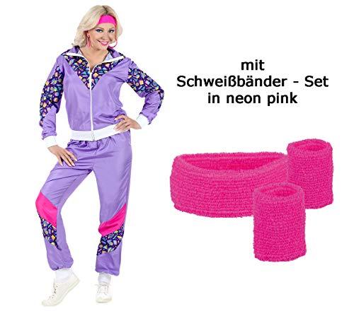Violetter 80er Jahre Damen Jogginganzug 80er Jahre Größe S bis XL mit Schweißbänder (XL)