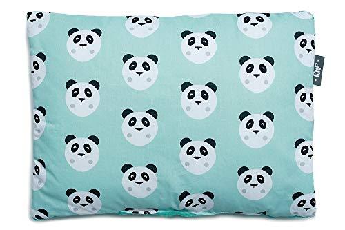 Baby Kopfkissen, Kissen 100% Baumwolle perfekt für Kinderwagen und Babybetten 30cm x 40cm (Grune Pandas)