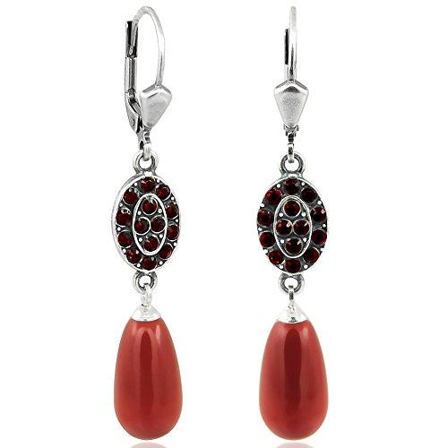 Jugendstil Ohrringe Kristalle von Swarovski Silber Rot NOBEL SCHMUCK