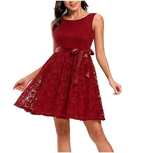 URIBAKY - Abito da donna in pizzo, stile vintage, senza maniche, con fiori, chic, vintage, tinta unita, cocktail, Swing Party Retro Dress, B-vin, S