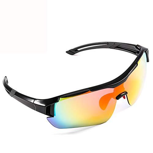CrazyFire Gafas de Sol Deportivas, UV 400 Protección Gafas Deportivas Polarizadas con 5 Set De Lentes Intercambiables para Hombre Mujer