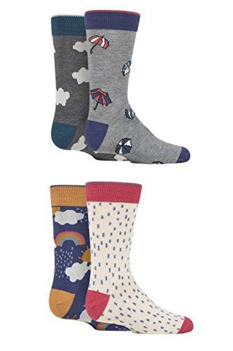 Thought Bébés et enfants Couverte Bambou et coton biologique Coffret cadeau Chaussettes Paquet de 4 Assorti 12-24 Mois