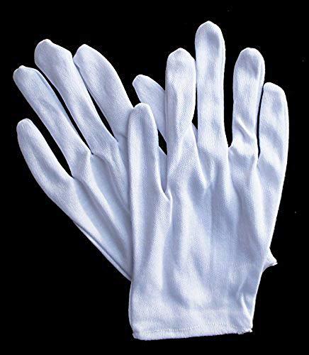 Main® N ° 2 Blanc pièce de monnaie Bijoux Argent d'inspection léger Térylène et gants en coton – Taille Petit-Medium extensible – Lot de 12 paires