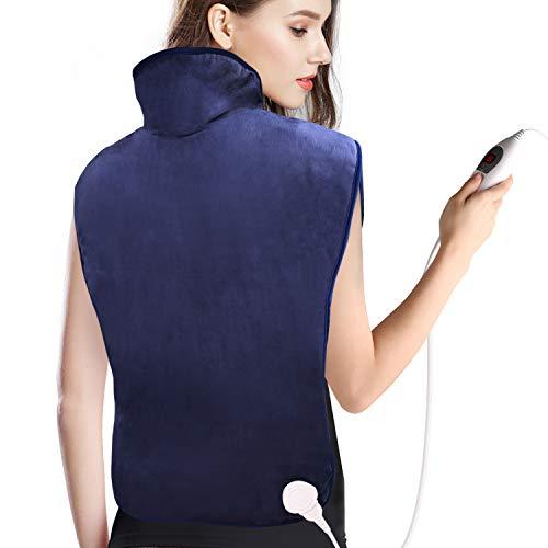Heizkissen für Rücken Schulter Nacken, Abschaltautomatik Wärmekissen und Schneller Heiztechnologie für Entlastung von Rücken und Schultern Heizdecke, 6 Temperaturstufen und Überhitzungsschutz