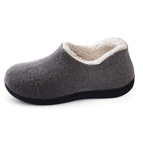 ULTRAIDEAS Women's Cozy Memory Foam Closed Back Slippers with Warm Fleece Lining, Wool-Like Blend Cotton House Shoes with Anti-Slip Indoor Outdoor Rubber Sole (Grey,Size 9)