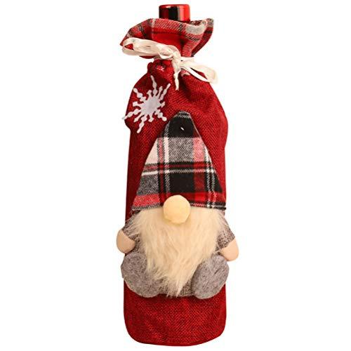 RetroFun Cubierta de Botella de Vino de Navidad, muñeca sin Rostro, Bolsa de Regalo de champán, Soporte de Botella de Vino de Santa Cluas, decoración de Mesa, Decoraciones de Fiesta de Navidad