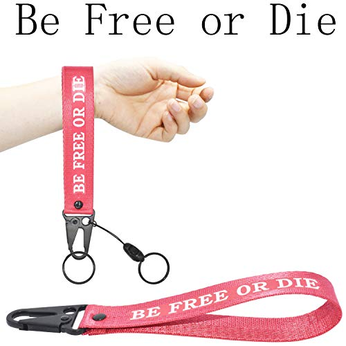 Keychain Lanyard for Women and Men, Wristlet Keychains Hand Wrist Strap Key Chain Ring Holder, Birthday Gifts for Women Men Yamaha Jeep BMW Car Motorcycle Key (Be Free or Die)