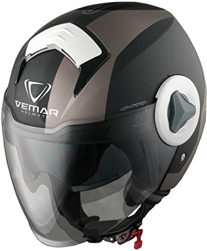 CASCO MOTO JET VISIERINO VEMAR BREEZE RADAR MATT GREY NERO GRIGIO TG XL