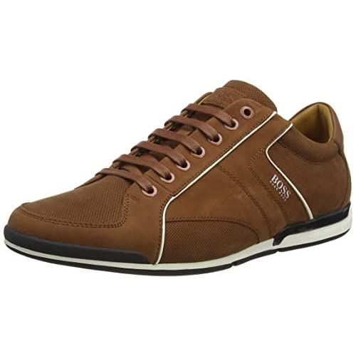 BOSS Mens Saturn Lowp Mixed-Leather Trainers with Perforated Detailing Size