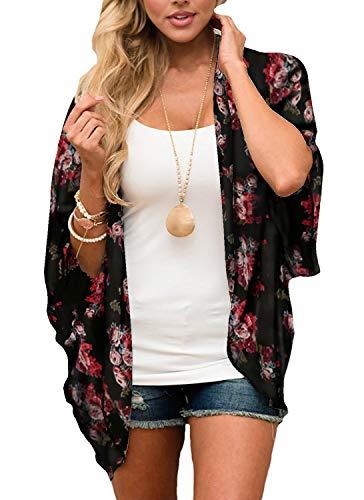 Digitek Damen Florale Kimono Cardigan - Chiffon Blumendruck Kimono Cardigan Cover Up Boho Sommer Casual Bluse Beach Swimwear (Black-A, Medium)