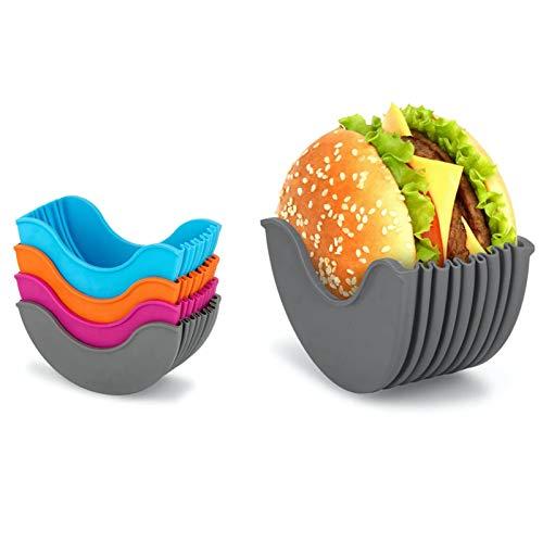 Soporte para hamburguesas, 4 piezas, soporte para hamburguesas, reutilizable e higiénica, caja fija para hamburguesas, lavable, evita que se caiga, hamburguesa ampliable, sin bisfenol A.