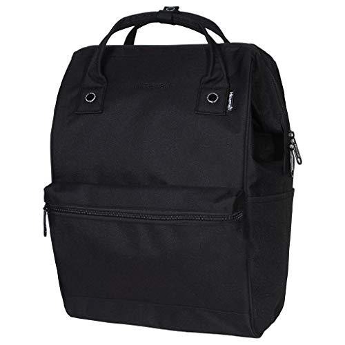 Himawari Polyester Backpack Unisex Vintage School Bag Fits 13-inch Laptop Dark Black-USB