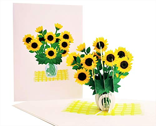 iGifts And Cards Cute Sunflowers 3D Pop Up Greeting Card - Mothers Day, Happy Birthday, Get Well, Thinking of You, Just Because, Happy Anniversary, Wedding, Floral, Love, Fun