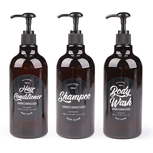 Soap Dispenser 3 unids baño dispensador de jabón 500 ml champú de lavado de cuerpo del cabello Botella de acondicionador de plástico Botella de almacenamiento de plástico Pulsación de la bomba de la b
