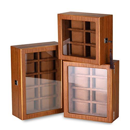 Vibiu Reloj Box Matte Matte Grano de Madera con Bloqueo de Bloqueo de Caja de Almacenamiento Caja de Pantalla Multi-Posición (Size : 8)