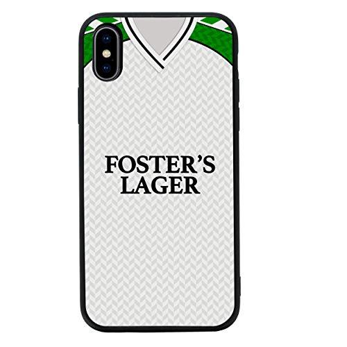 Retro Voetbalshirts Achterkant van Gehard Glas Geval Compatibel met iPhone X XS - Telefoon Beschermhoes voor 5,8 inch Scherm