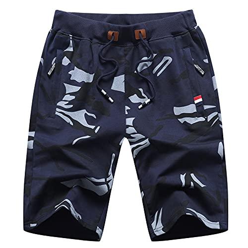 Katenyl Pantalones Cortos Estampados de Camuflaje de Tendencia para Hombre Moda Relajada de Gran tamaño Entrenamiento Correr Deportes recreativos Pantalones Cortos Rectos XL
