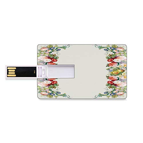 8 GB USB Flash Thumb Drives Victorian Decor Bank Credit Card Shape Business Key U Disk Memory Stick Storage Rose Garland in Pastel Tones Jasmine Cornflower Bouquet Classic Bloom Graphic,Red Yellow Gre