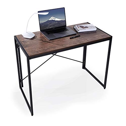 KTT Folding Writing Computer Desk - Modern Home Office Desks, Portable Study PC Table, Simple Study Desks for Home Office Bedroom, Rustic Desk Brown