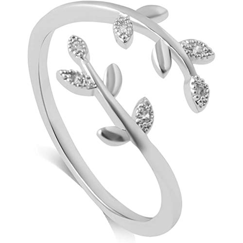 Chagoo Grow Through What You Go Through, Adjustable Leaf Ring Open Ring Jewelry Gift for Girl Women Mother's Day Gift (Silver)