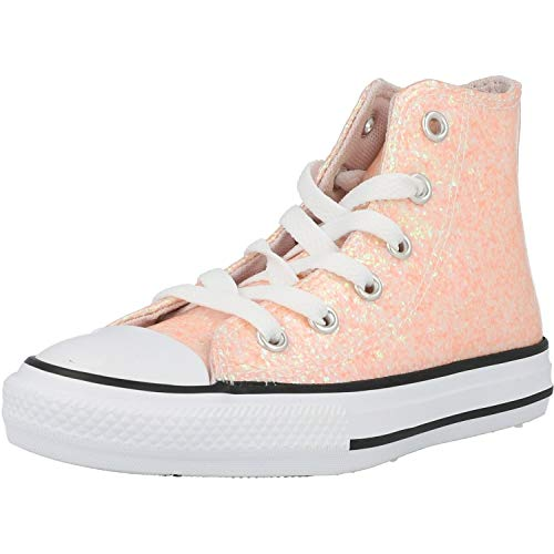 Converse Girl's Chuck Taylor All Star Glitter High Top Sneaker, Barely Rose/Black/White, 1 M US Little Kid