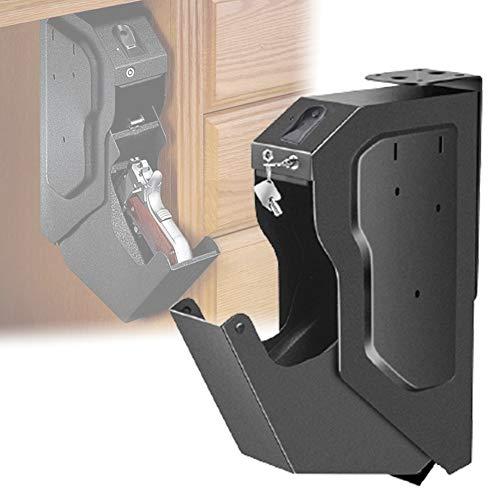 HNWTKJ Biométrico de Huellas Dactilares Arma de la Caja, Caja de Seguridad de la Pistola con la Huella Digital y la Llave de Repuesto, la Huella Digital Seguro para el Escritorio Armario