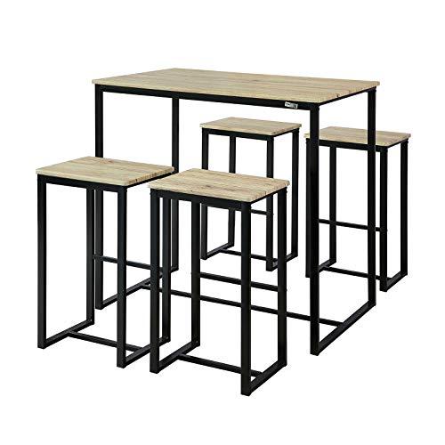 SoBuy OGT15-N 5-teilig Bartisch mit Stühlen Esstisch Stehtisch Bistrotisch mit 4 Barhocker Sitzgruppe