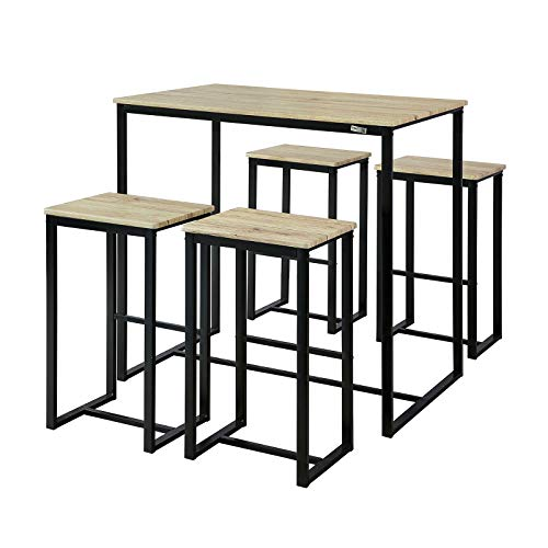 SoBuy OGT15-N Set de 1 Table + 4 Tabourets Ensemble Table de Bar Bistrot + 4 Tabourets de Bar avec Repose-Pieds Table Haute Cuisine Mange-Debout (Bois Naturel)