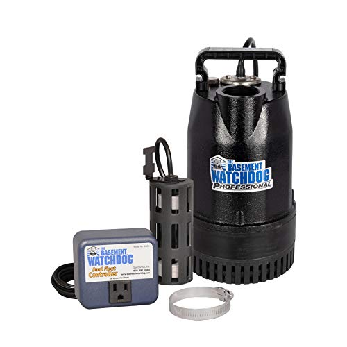 THE BASEMENT WATCHDOG Model SIT-50D 1/2 HP 4,400 GPH at 0 ft. and 3,540 GPH at 10 ft. Cast Iron Submersible Sump Pump with Top Discharge and Caged Dual Micro Reed Float Switch and Controller
