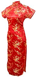 Women's Sexy VTG Red Floral Long Chinese Prom Dress Cheongsam