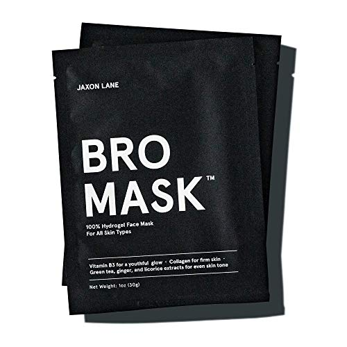 BRO MASK: Korean Face Mask for Men | 2 Pc. Hydrating Anti Aging Sheet Masks Contains Vitamin C, Vitamin E, Hyaluronic Acid, Hydrolyzed Collagen for Face Care & Acne Treatment by Jaxon Lane (4 Pack)