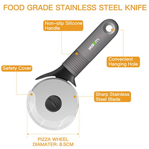 Product Image 4: Pizza Cutter Stainless Steel Wheel with Silicone Non Slip Handle and Protective Cover, Luxear Professional Pizza Slicer with Sharp Blade Wheel, Professional Pizza Knife 8.5 Inch