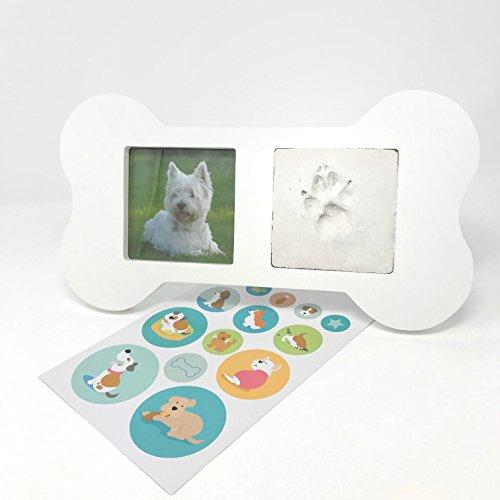 KATINGA Cornice portafoto in legno a forma di osso per cani, con impronta della zampa, un bel ricordo del vostro cane, incl. adesivi