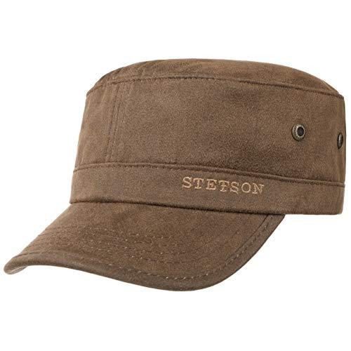 Stetson Gorra Militar Stampton Hombre - de Verano Sol algodón Hebilla Metal, con Visera, Visera Primavera/Verano - M (56-57 cm) marrón