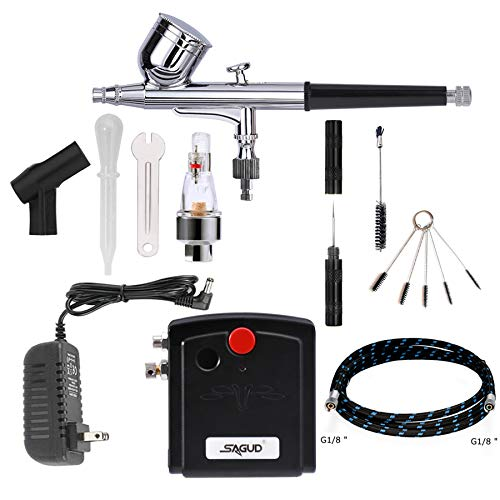 SAGUD Airbrush Kit with Portable Mini Air Brush Compressor – Gravity Feed Dual - Action Airbrush Gun for Cake Decorating, Hobby, Craft, Tattoo, Nails, Makeup with Airbrush Cleaning Kit