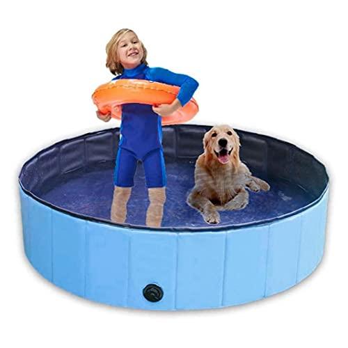 Nicejoy Piscina Perros Piscina Dura para Perros Piscina De Plástico Piscina Plegable Piscina Bañera De Baño para Jardín Niño Natación Pool Blue 100x30cm