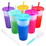 Color Changing Cups Tumblers with Lids & Straws - 6 Pack 24oz Reusable Plastic Cold Water Tumblers Iced Coffee Cups for Adults Kids